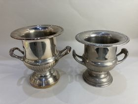 Two plated wine coolers, of Campagna urn shaped form, to include one stamped Saracen Silverware,