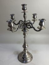 A silver plated five light candelabrum on baluster stem and circular base, (a/f)