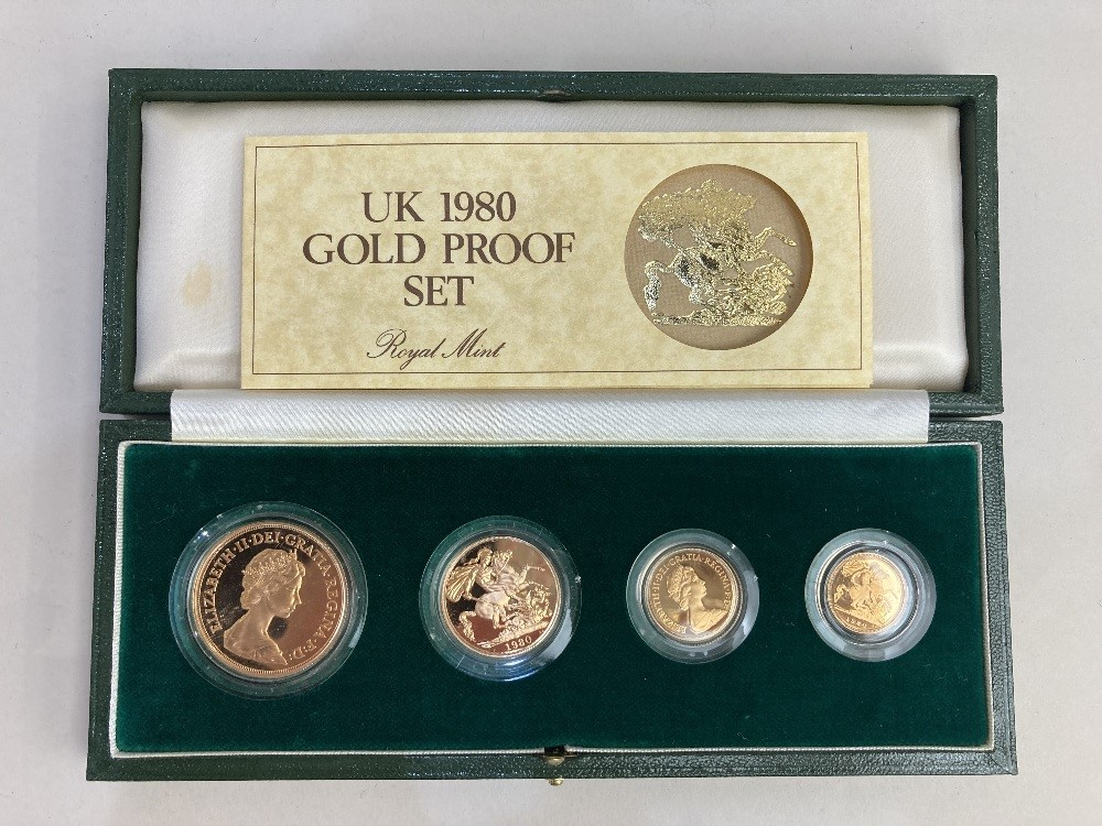 An Elizabeth II Royal Mint cased 1980 gold proof set of £5, £2, sovereign and half sovereign