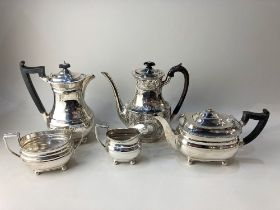 A Harrods silver plated four piece tea set, (a/f - missing finial) together with a silver plated