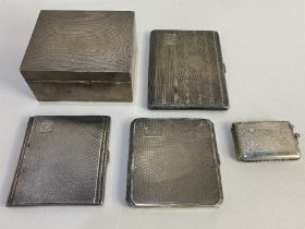 Two George V silver cigarette cases, makers Deakin & Francis Ltd, and Sanders & Co, Birmingham 1936,