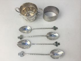 A set of four George V silver coffee spoons, maker Joseph Cook & Son, Birmingham 1927, with twist