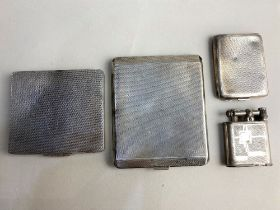 A George VI silver cigarette case with gilt interior, Birmingham 1937 8cm, another similar and a