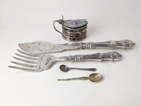 A pair of Elkington and Co. silver plated fish servers with engraved and pierced decoration to blade