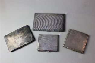 Three engine turned silver cigarette cases and another plain with inscriptions, 17.75oz