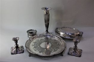A silver plated circular serving tray with beaded and pierced border, 36cm, an oval tureen and