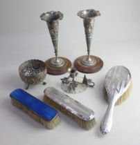 Two George V silver backed dressing table brushes Birmingham 1932, a pair of Indian embossed white