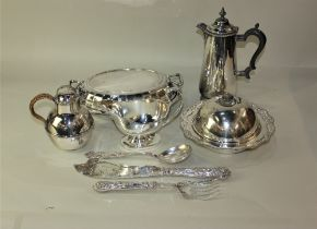 A collection of silver plated tableware, to include an oval tureen and cover, crumpet dish and