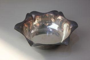A George V silver fruit bowl circular shape with scalloped border, maker Atkin Bros. Sheffield 1925,