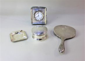 A George V silver mounted pocket watch travel case with fitted steel pocket watch (a/f glass