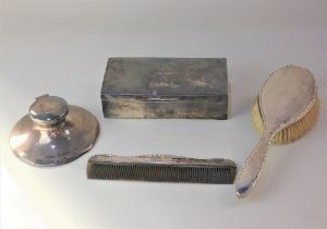 A George VI silver cigarette box, George V silver capstan inkwell, both with engraved
