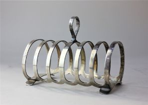 A modern silver six division toast rack maker Cooper Bros. Shefffield 1953, 5.2oz 13cm