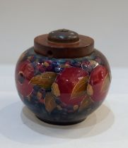 A Moorcroft pottery 'Pomegranate' pattern jar now converted to a lamp, 14.5cm high including fitting