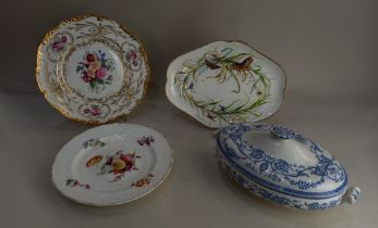 A Coalport porcelain lobed plate decorated with butterflies and grasses, 29.5cm, a Coalport