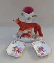 A Staffordshire pottery spill vase with a fox and cub, 19cm high, together with a pair of Royal
