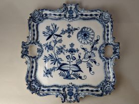 A large Meissen blue and white porcelain onion pattern shaped square tray, 41cm by 40cm
