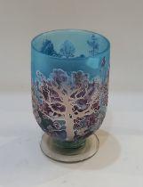 Jonathan Harris, a contemporary limited edition studio silver cameo glass vase 'Winter Landscape',