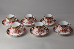 A Royal Crown Derby Imari porcelain set of six coffee cups and saucers, with gilt embellishments