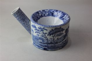 A Spode blue and white porcelain spitoon with transfer printed decoration