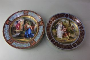 A Vienna porcelain cabinet plate decorated with a scene of Apollo and Aglaïa in a landscape,