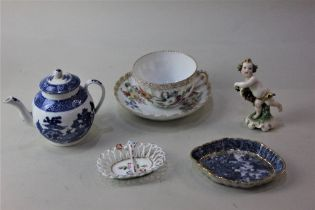 A small blue and white porcelain teapot possibly by Worcester, (a/f lid repaired) a Dresden tea