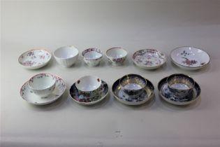 Four various porcelain tea bowls and saucers three further tea bowls and three saucers
