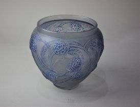 An R Lalique 'Nefliers' glass vase, with blue staining, 15cm high