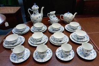 A Royal Copenhagen blue and white Musselmalet pattern part tea and coffee service comprising tea