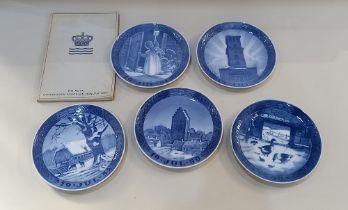 Five Royal Copenhagen porcelain Christmas plates to include 1949 Copenhagen Cathedral, 1950