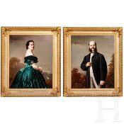 Conrad Freyberg (1842-1915), ein Paar große Portraits, datiert 1866
