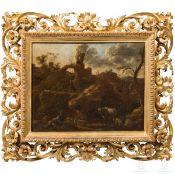Hirten in felsiger italienischer Landschaft, in der Art des Rosa da Tivoli, Ende 17. Jhdt.