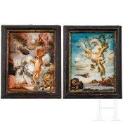 Ein Paar Hinterglasgemälde mit antiken mythologischen Szenen, süddeutsch, um 1760