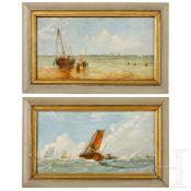 Ein Paar kleinformatige Gemälde mit maritimen Motiven, deutsch/Niederlande, 19. Jhdt.