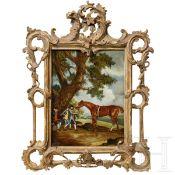 """Hinterglasbild """"Rastende mit Reitpferd"""", England, um 1760"""