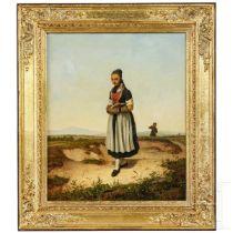 """Carl Julius Hermann Schröder (1802-67) - """"Mädchen beim Kirchgang"""""""