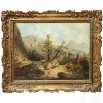 August Seidel (1820 - 1904) zugeschrieben - Gemälde einer Gebirgslandschaft