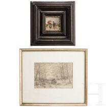 Robert Schleich (1845-1934), kleines Gemälde und Bleistiftzeichnung