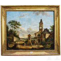 """Bilderuhr """"Kapelle am Wegrand"""", Italien, 19. Jhdt."""
