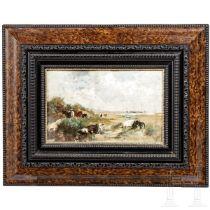 """Gemälde """"Kühe am Strand"""", deutsch oder Niederlande, um 1900"""