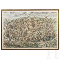 Johann Daniel Herz - Gesamtpanorama der Stadt Jerusalem, kolorierter Kupferstich, 1735