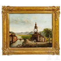 """Uhrenbild """"Kapelle am Fluss"""", deutsch, 19. Jhdt."""