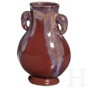 Kleine kupferrot-glasierte Vase mit Marke, China, Guangxu, 19. Jhdt.