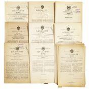 """21 Spielzeug-Patentschriften von 1893 - 1923, Reichspatentamt, mit Bing """"für einen Turner an Recksta"""