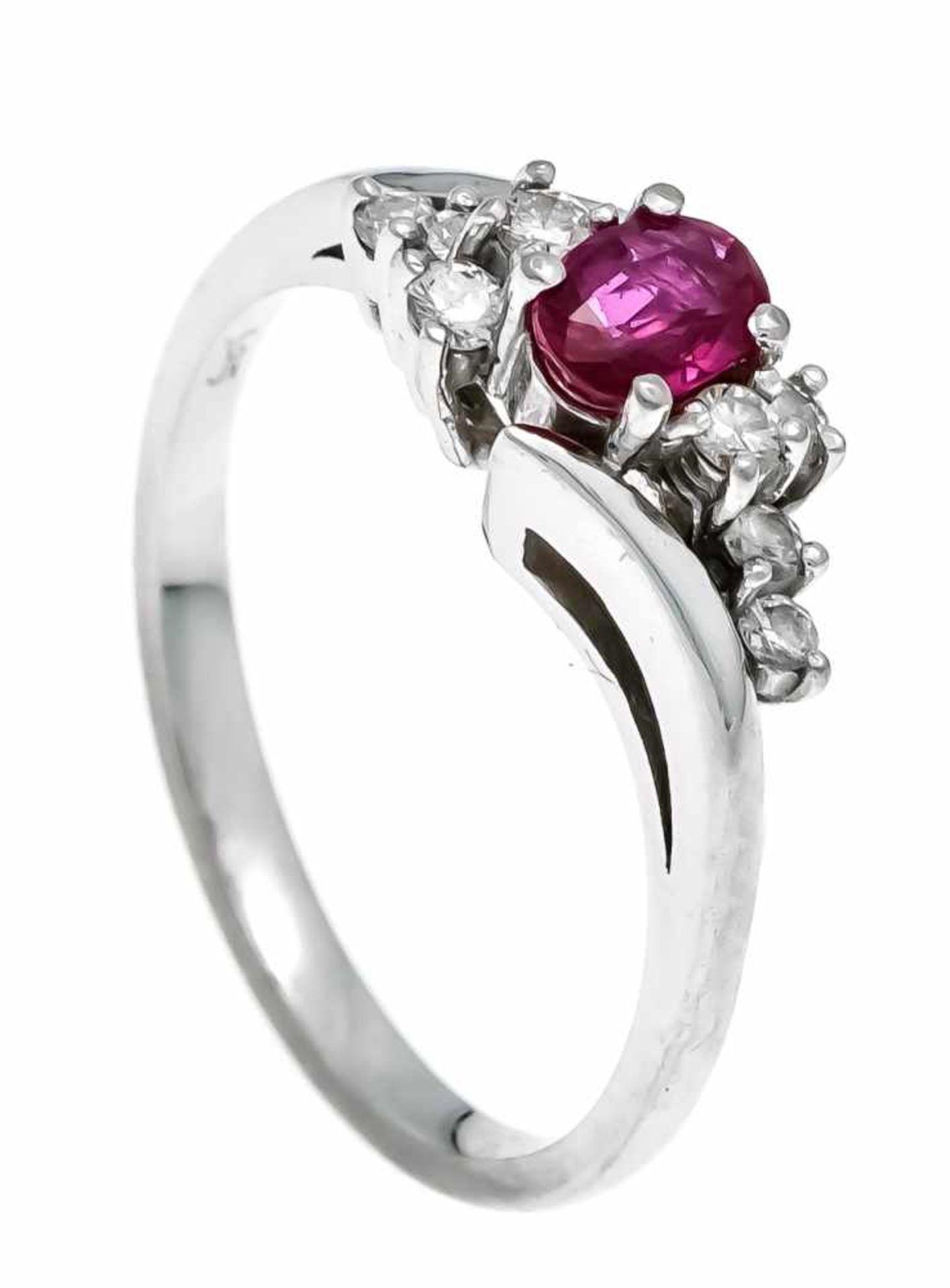 Rubin-Brillant-Ring WG 585/000 mit einem oval fac. Rubin 5 x 3,5 mm in sehr guter Farbe und Reinheit