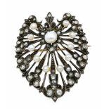 Orientperlen-Diamant-Brosche Silber 750/000 auf Gold 750/000 ungest., gepr., mit 11 Orientperlen 5 -