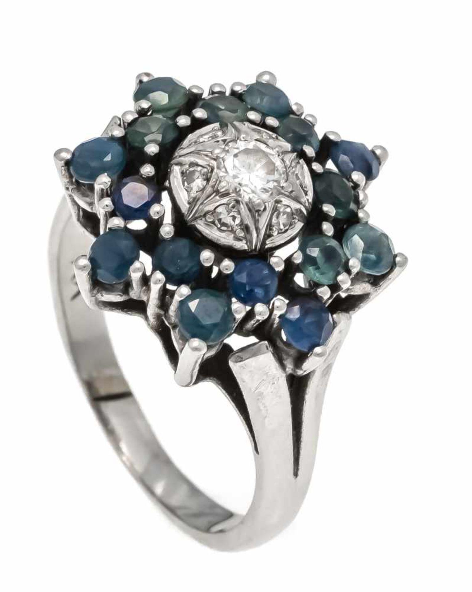 Saphir-Brillant-Ring WG 585/000 mit 16 rund fac. Saphiren 2,5 mm und einem Brillanten W/VS, RG 55,