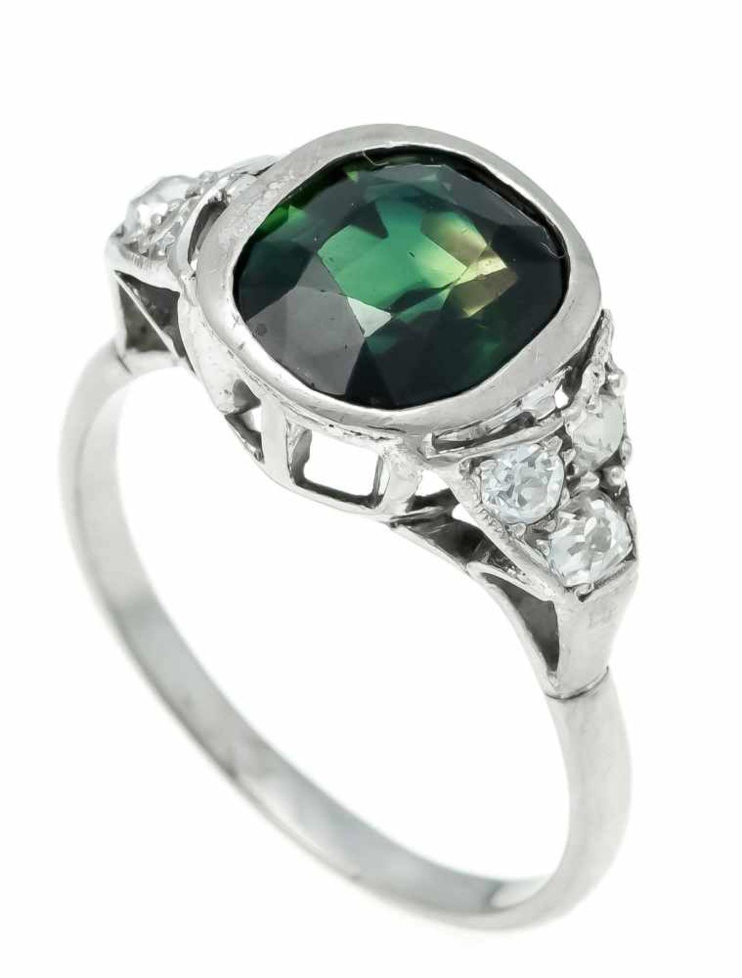 Turmalin-Altschliff-Diamant-Ring Palladium 800/000 mit einem oval fac. Turmalin, 10,1 x 9,4 mm,