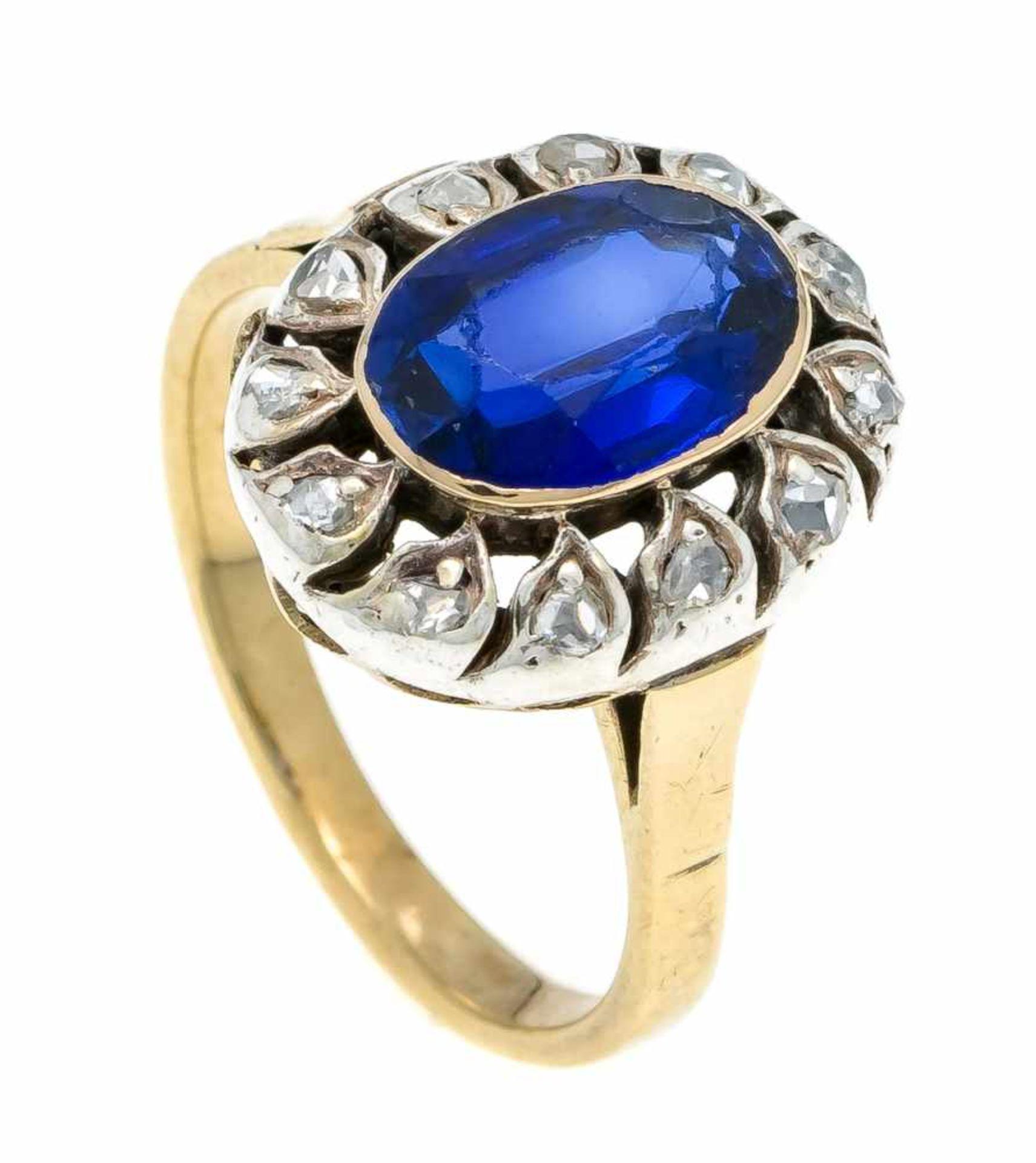 Saphir-Diamant-Ring RG/WG 585/000 Russland um 1920 mit einem oval fac. synth. Saphir 9,5 x 7 mm