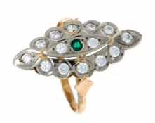 Edelstein-Ring WG/RG 585/000 mit einem rund fac. grünen Edelstein 2 mm und weißen rund fac.