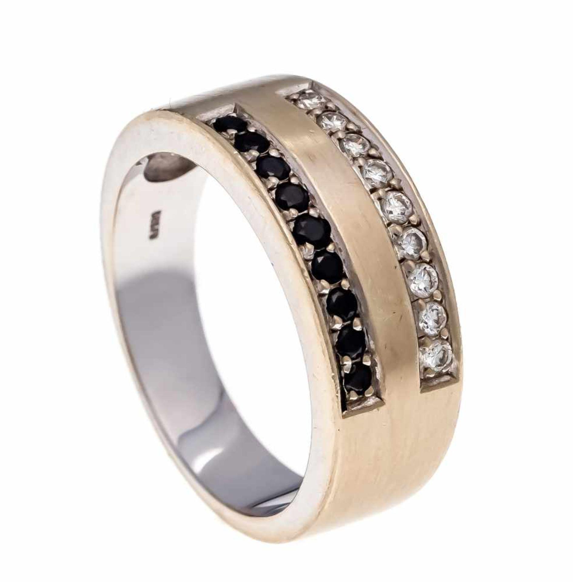 Brillant-Ring WG 585/000 mit 9 Brillanten, zus. 0,14 ct W/SI und 9 schwarzen Brillanten, zus. 0,14